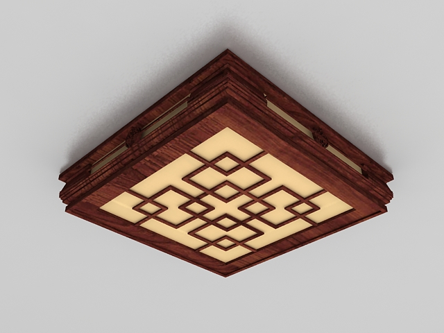 Ancient Chinese ceiling lighting fixtures 3d rendering