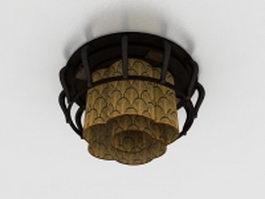 Rustic ceiling lamp 3d model preview