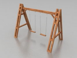 Playground wood swing sets 3d model preview