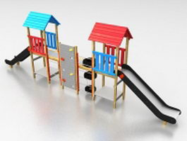 Outdoor playset with slide 3d model preview
