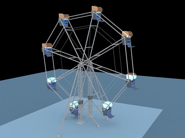 Amusement ride ferris wheel 3d rendering