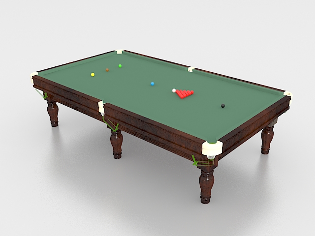Snooker table with balls 3d rendering