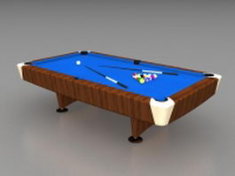 Blue pool table 3d preview