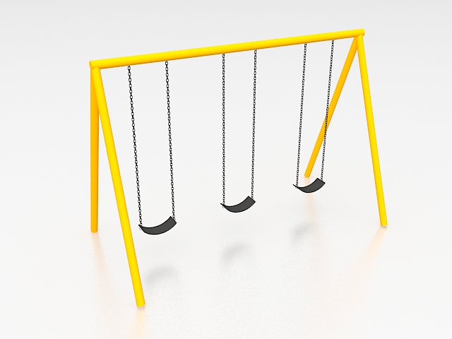 School playground swing sets 3d rendering
