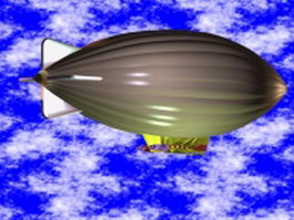 Modern zeppelin airship 3d model preview