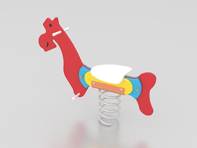 Playground horse spring rider 3d rendering