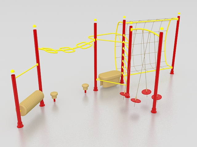 Monkey bars playground equipment 3d rendering