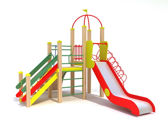 Slide and climbing playsets 3d rendering