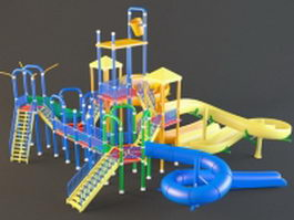 Outdoor plastic playground slides 3d model preview