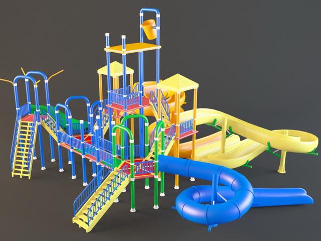 Outdoor plastic playground slides 3d rendering