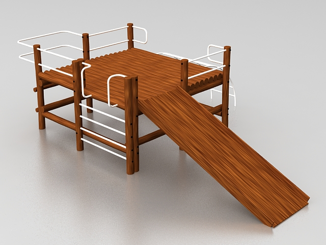 Climbing frame and slide 3d rendering