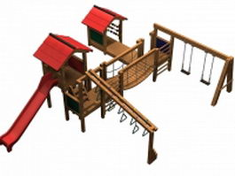Wooden swing sets and playsets 3d preview