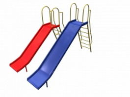 Playground slides with ladder 3d model preview