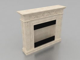 Limestone gas fireplace 3d model preview
