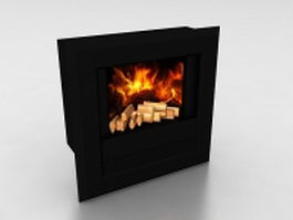 Wall mount fireplace 3d model preview