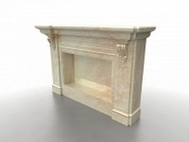 Beige marble fireplace surround 3d model preview