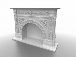 Carved stone fireplace surrounds 3d model preview
