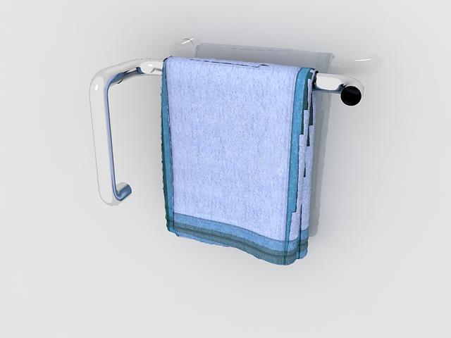 Blue towel on rack 3d rendering