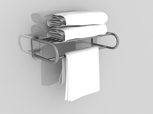 Bath towel shelf rack 3d rendering