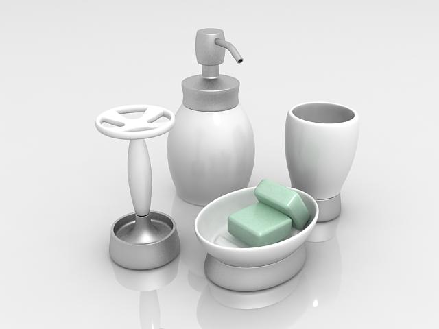 4 Piece bathroom accessories set 3d rendering