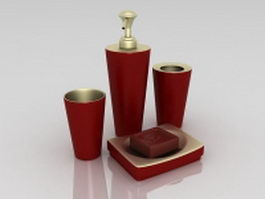 Red bathroom accessory sets 3d preview