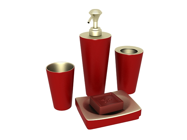 Red bathroom accessory sets 3d rendering