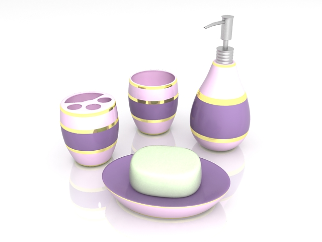 Purple bathroom sets and accessories 3d rendering