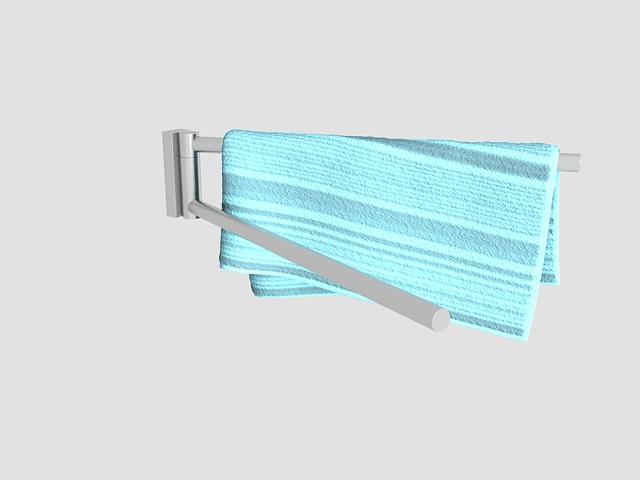 Rotating towel bar with towel 3d rendering