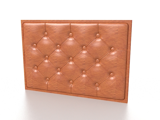 Brown leather wall covering 3d rendering