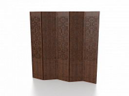 Wood room divider panels 3d preview
