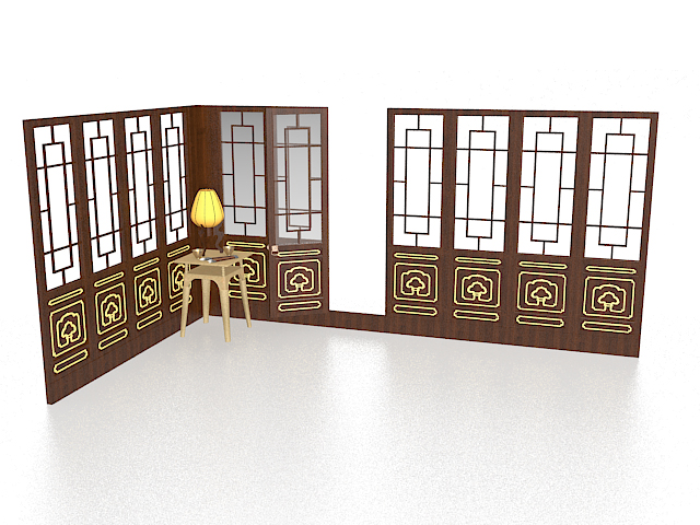 Antique Chinese room partition 3d preview