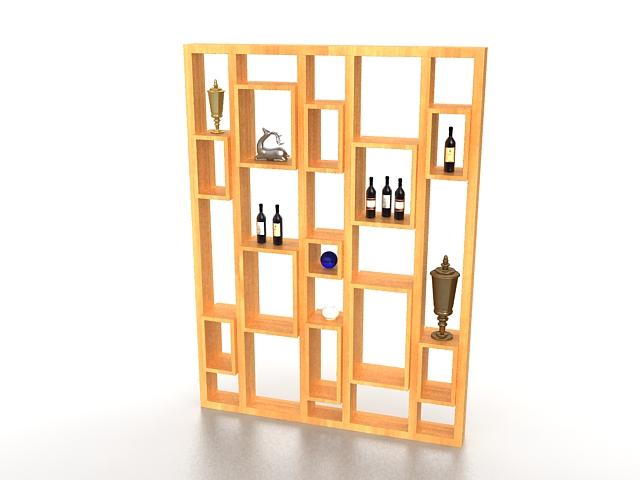 Room divider wall shelf 3d rendering