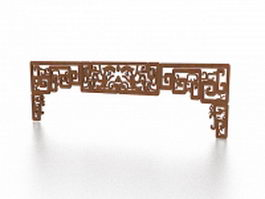 Carved wooden room partition panel 3d preview