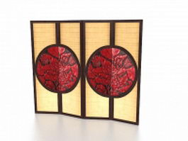 Japanese room divider screen 3d preview