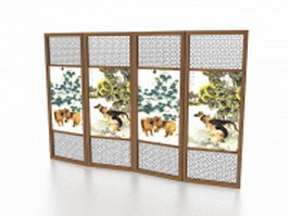 Folding screen room divider 3d preview