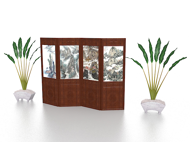 Folding screen and potted plant 3d rendering