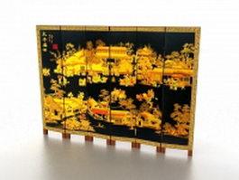 Black antique folding screen 3d model preview
