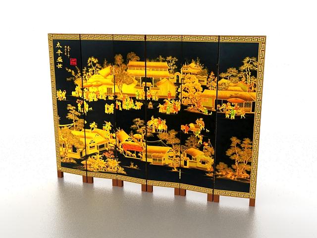 Black antique folding screen 3d rendering