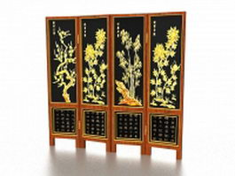 Chinese decorative folding screens 3d preview