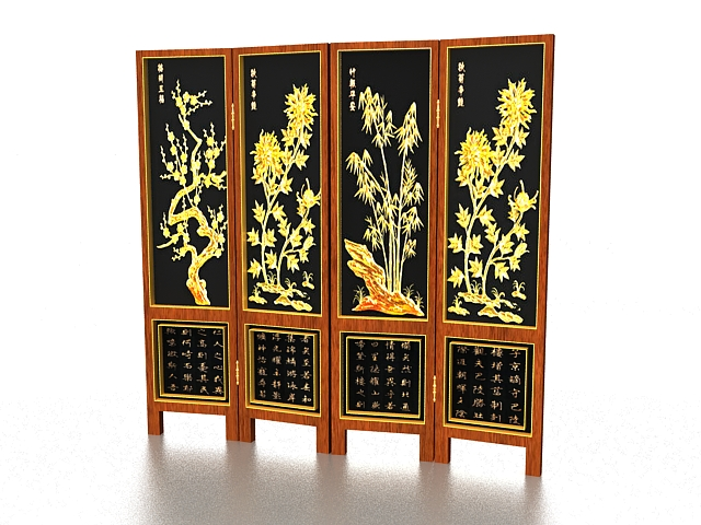 Chinese decorative folding screens 3d rendering