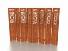 Wood folding screen room divider 3d model preview