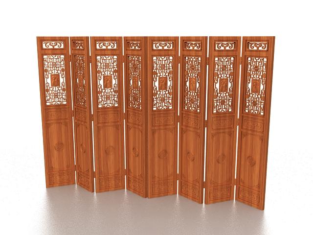 Wood folding screen room divider 3d rendering