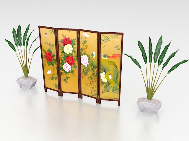Japanese style folding screen 3d rendering