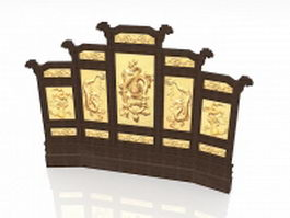 Antique Chinese divider screens 3d model preview