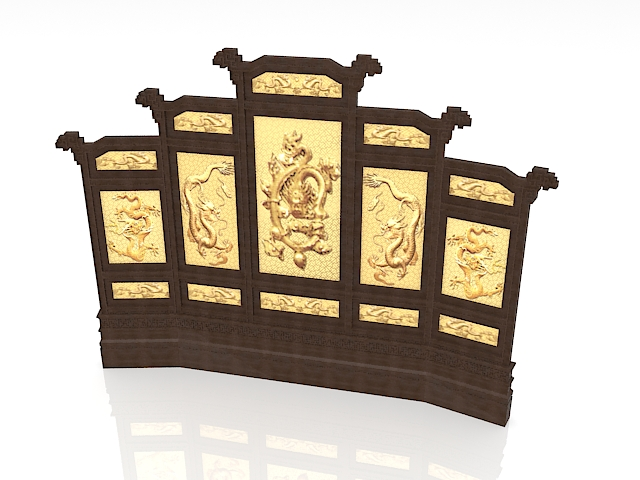 Antique Chinese divider screens 3d rendering