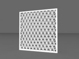 White fretwork panel 3d model preview
