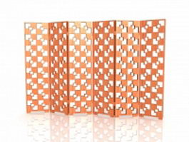 Wood lattice folding screen 3d preview
