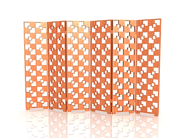 Wood lattice folding screen 3d rendering