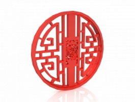 Chinese round window 3d preview