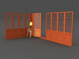 Antique Wooden Chinese screens panels 3d preview
